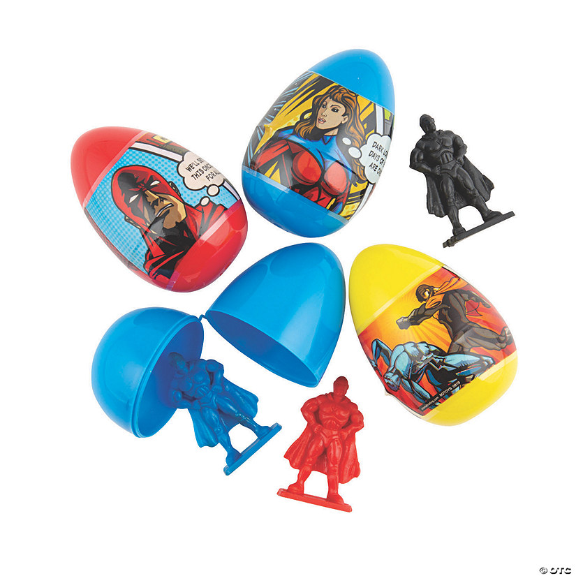 Superhero Toy-Filled Plastic Easter Eggs - 12 Pc. Image Thumbnail