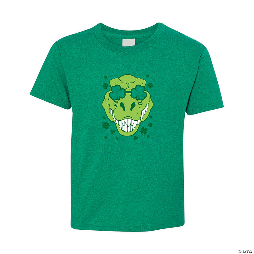 T-Rex with Shamrock Glasses Youth T-Shirt Image Thumbnail