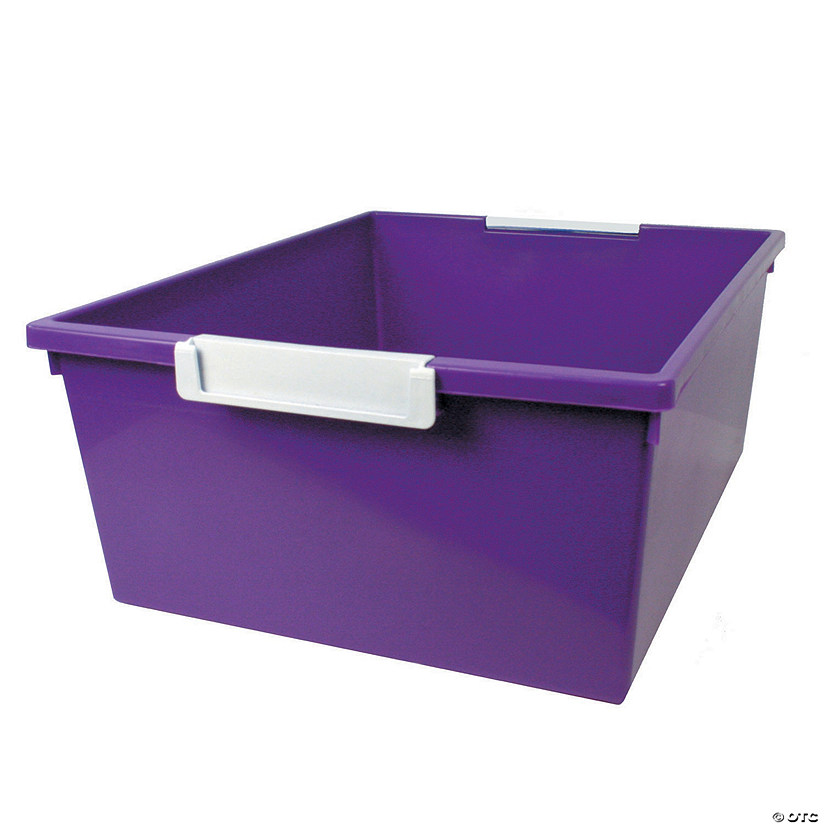 Tattle™ Tray with Label Holder, 12 Qt., Purple, Set of 3