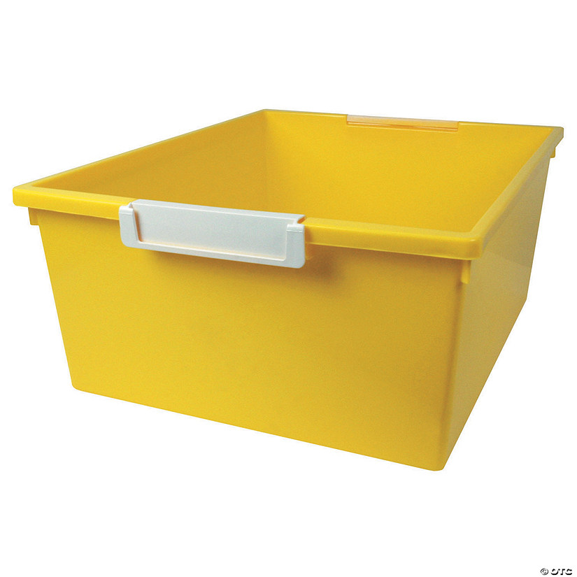 Tattle™ Tray with Label Holder, 12 Qt., Yellow, Set of 3