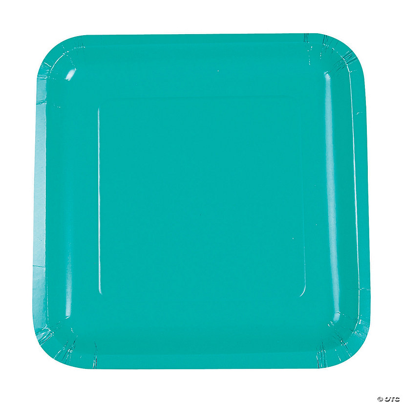 Teal Lagoon Square Dinner Paper Plates