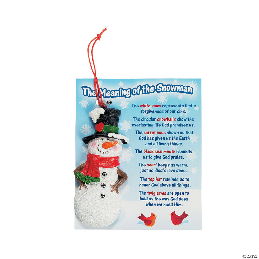 the meaning of the snowman christmas ornaments on card