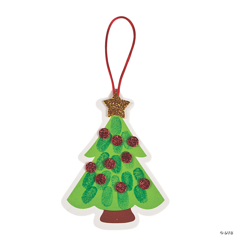 Thumbprint Christmas Tree Ornament Craft Kit Image Thumbnail