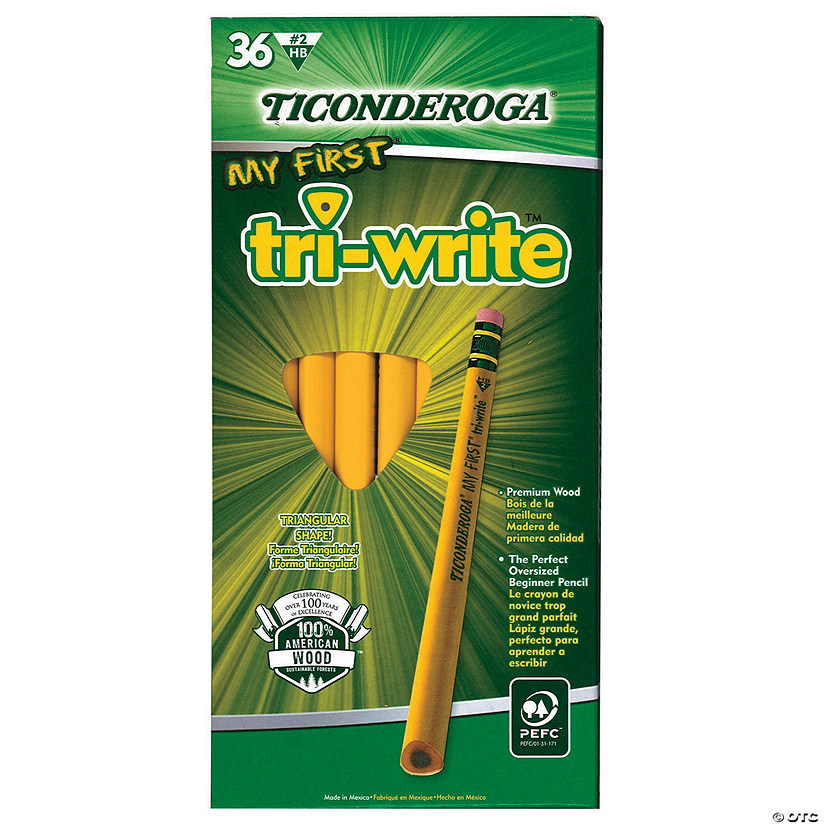 Ticonderoga® My First Tri-Write Primary Size No. 2 Pencils with Eraser, 36/Box Audio Thumbnail
