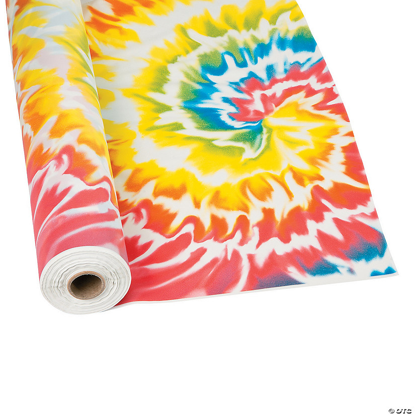 Tie Dye Plastic Tablecloth Roll Oriental Trading