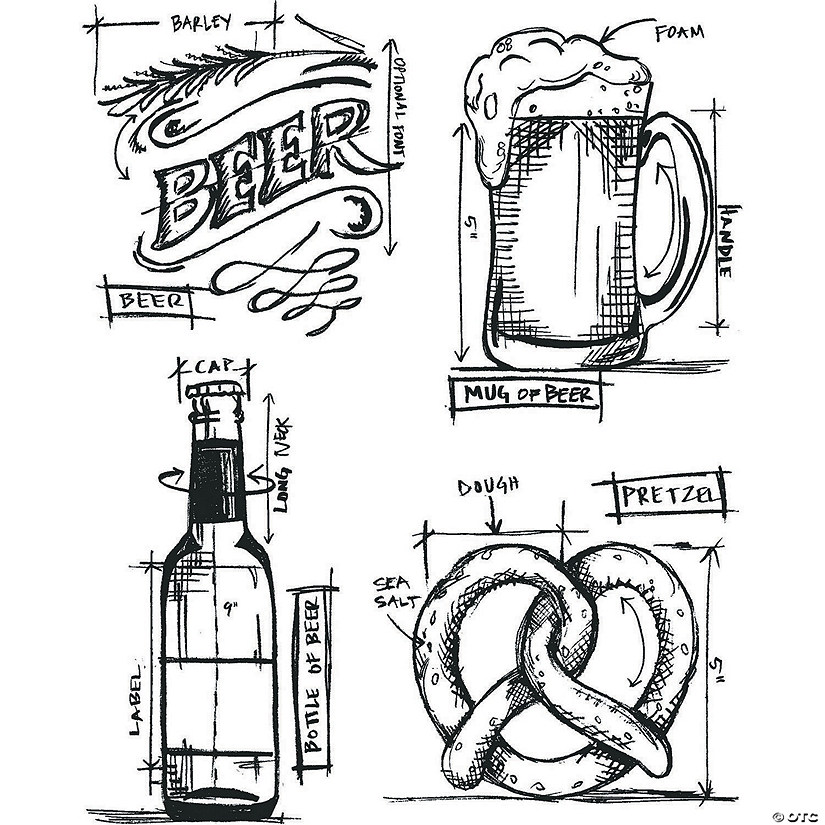 "Tim Holtz Cling Stamps 7""X8.5""-Beer Blueprint"