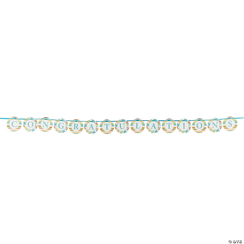 Tiny Toes Blue Circle Ribbon Paper Banner