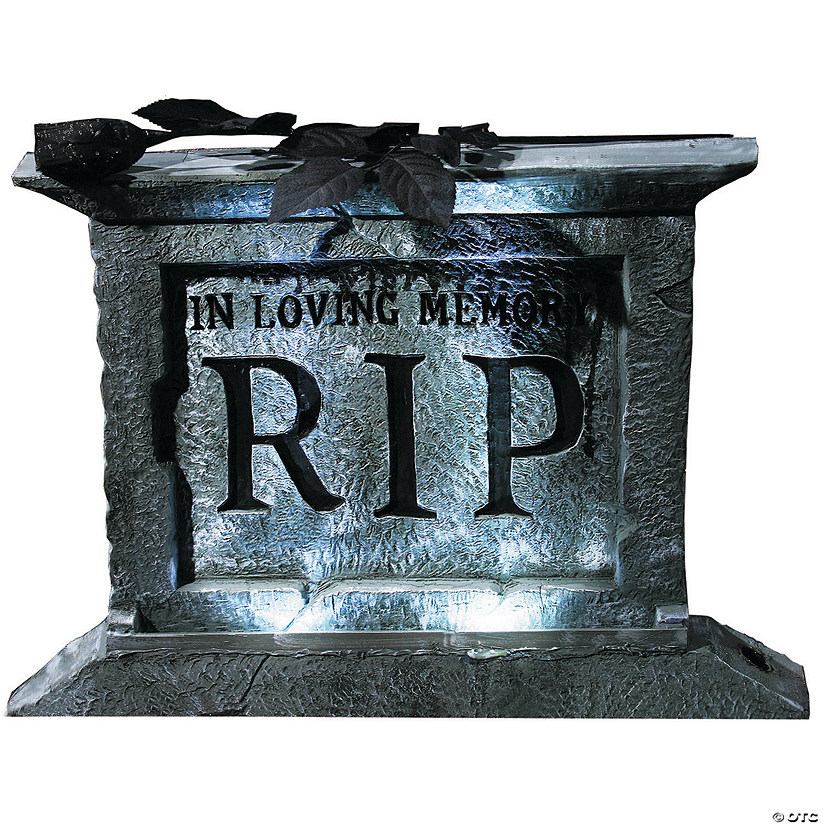 Tombstone Pedestal with Rose Halloween Decoration Image Thumbnail