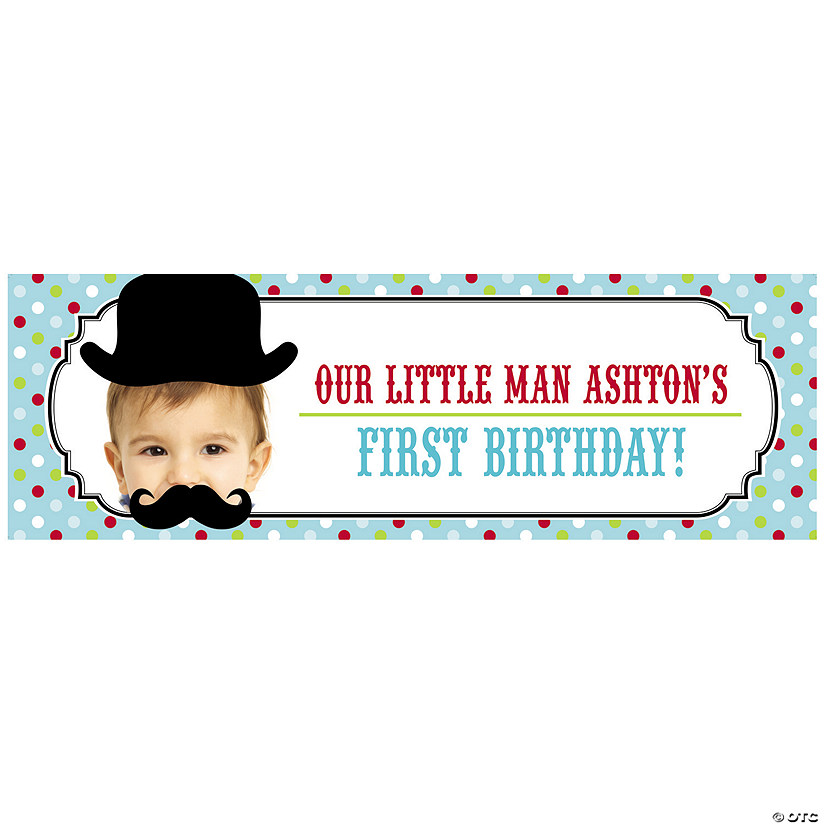 Top Hat & Mustache Lil Man Party Photo Custom Banner Audio Thumbnail