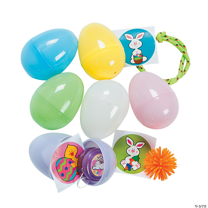 Toy-Filled Pastel Plastic Easter Eggs - 24 Pc.