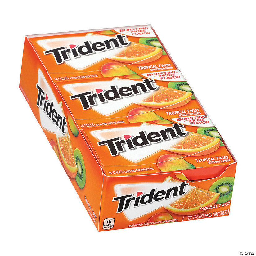 Trident Sugar-Free Tropical Twist Gum, 14 Piece, 12 Pack Image Thumbnail