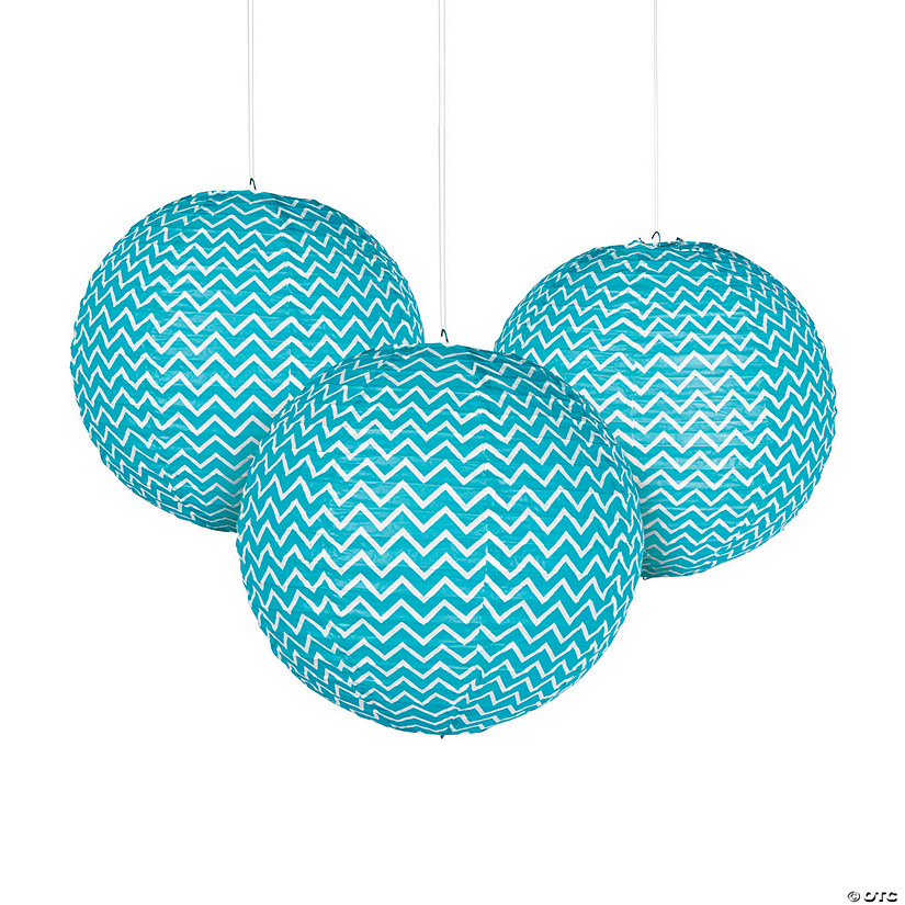 Turquoise Chevron Hanging Paper Lanterns Audio Thumbnail
