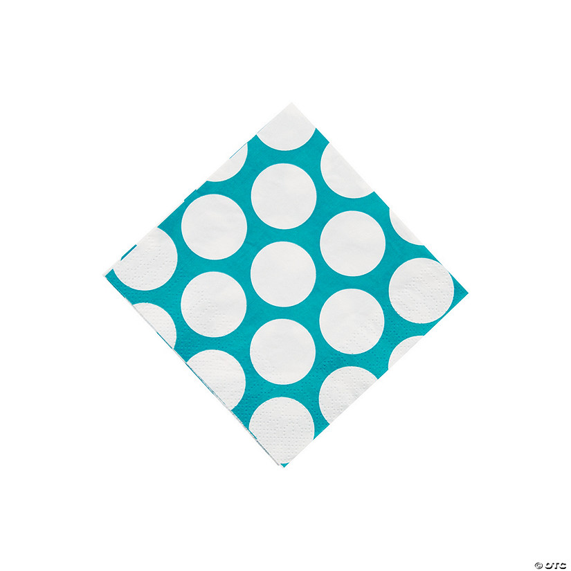 Turquoise Large Polka Dot Beverage Napkins Audio Thumbnail