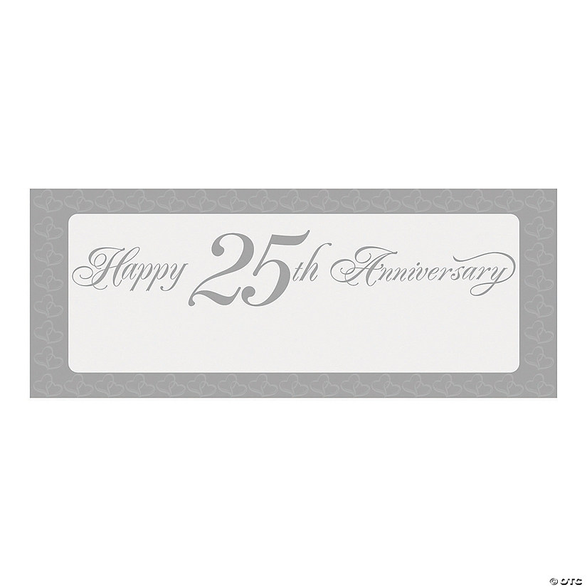 Two Hearts Happy 25th Anniversary Banner - Small