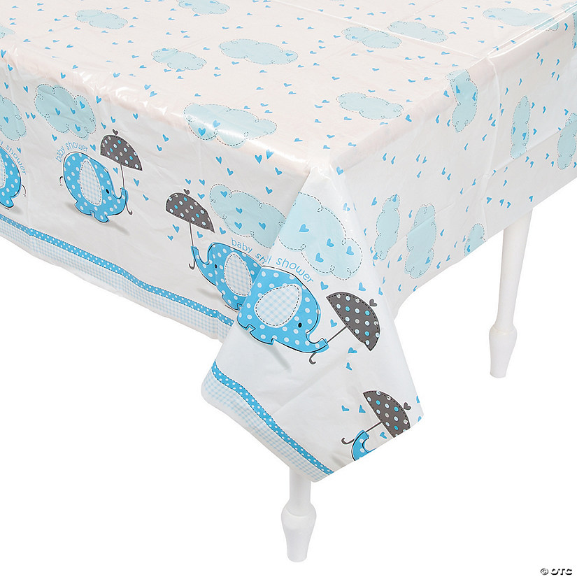 Umbrellaphants Blue Paper Tablecloth