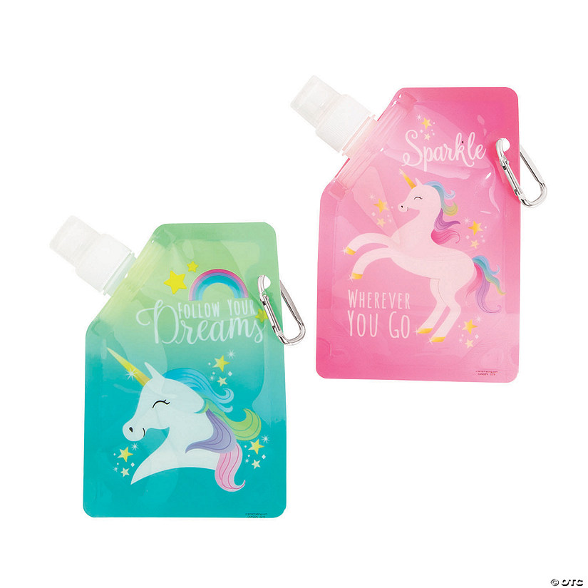 Unicorn Collapsible Water Bottles Image Thumbnail