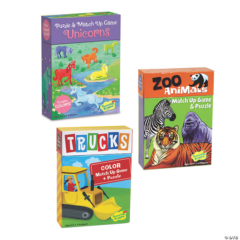 Unicorn, Trucks, and Zoo Match Up Games: Set of 3