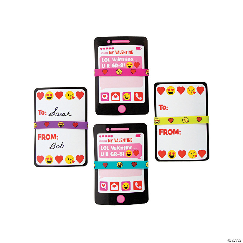 Valentine Emoji Bracelets Exchange Cards
