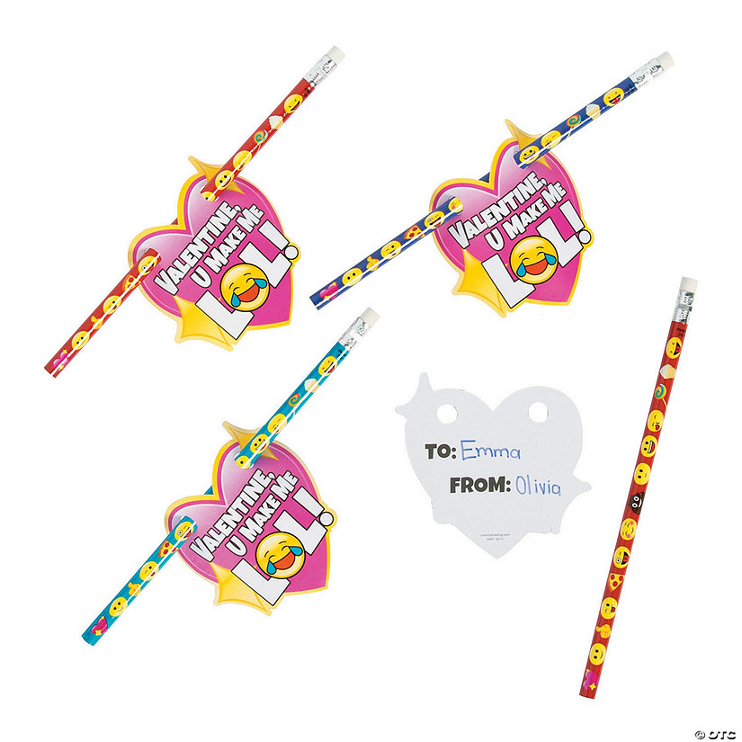 Valentine Emoji Pencils with Card