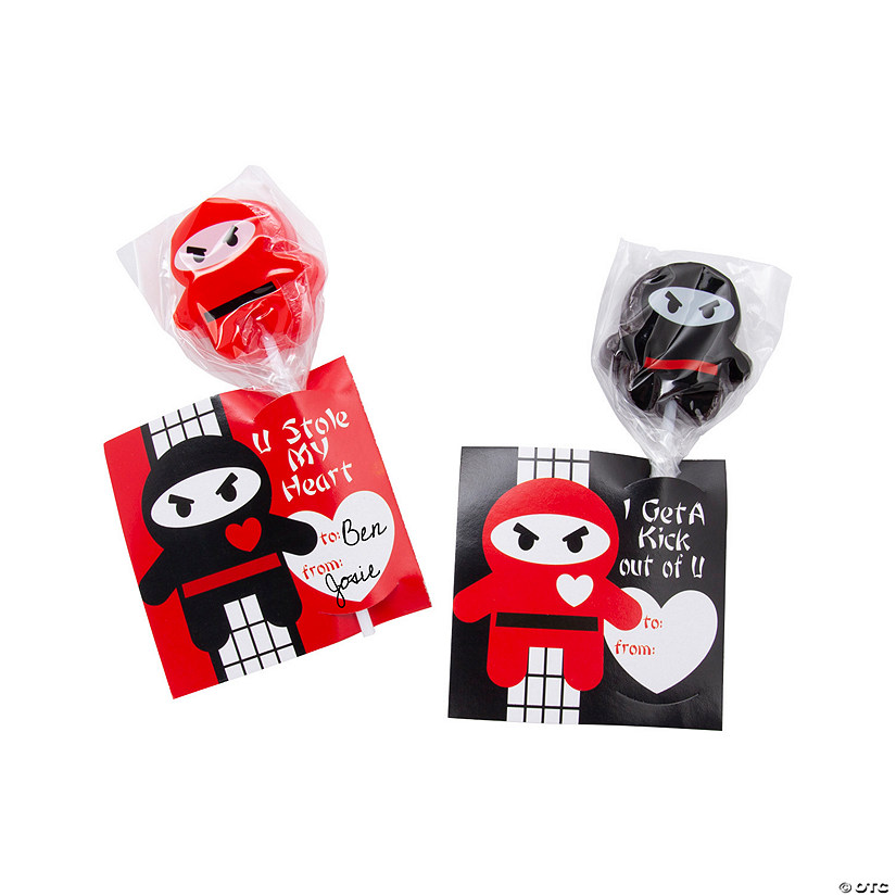 Valentine Ninja Lollipops with Cards