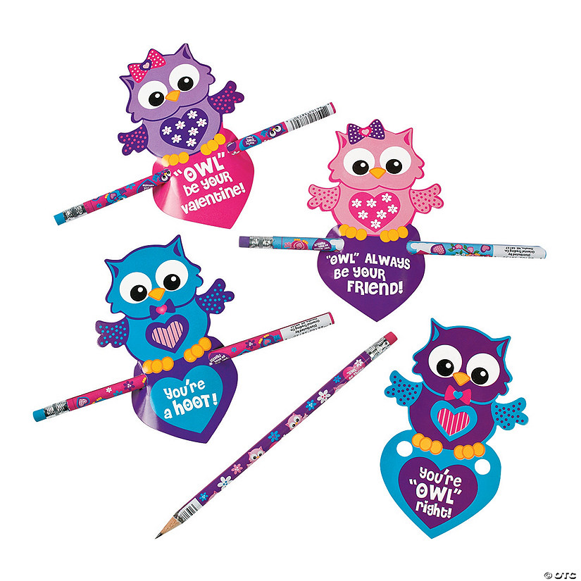 Valentine Owl Cards With Pencils Discontinued