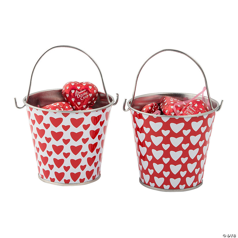 Valentine Pails with Chocolate Candy Hearts Image Thumbnail