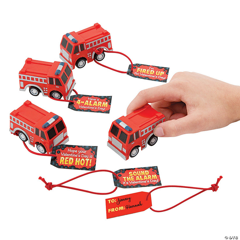 Valentine Pullback Fire Trucks with Card