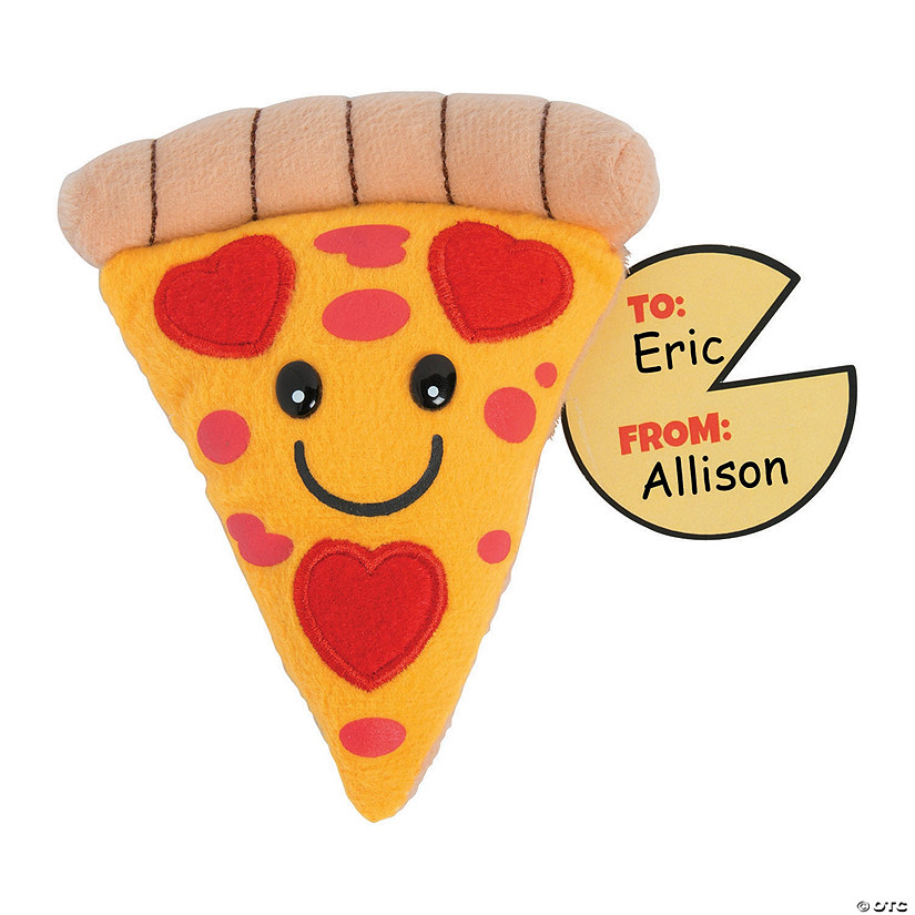 Valentine's Day Plush Pizza Slices with Cards
