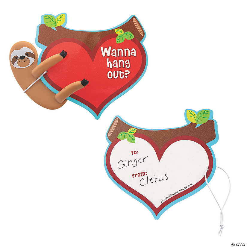 Valentine's Day Sloth Bendables with Card