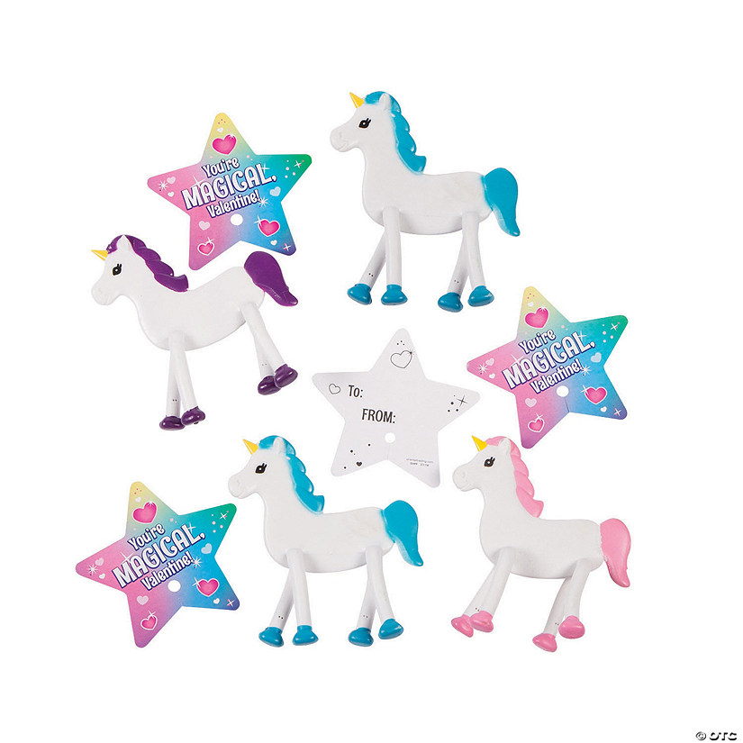 Valentine's Day Unicorn Bendables with Giveaway Cards