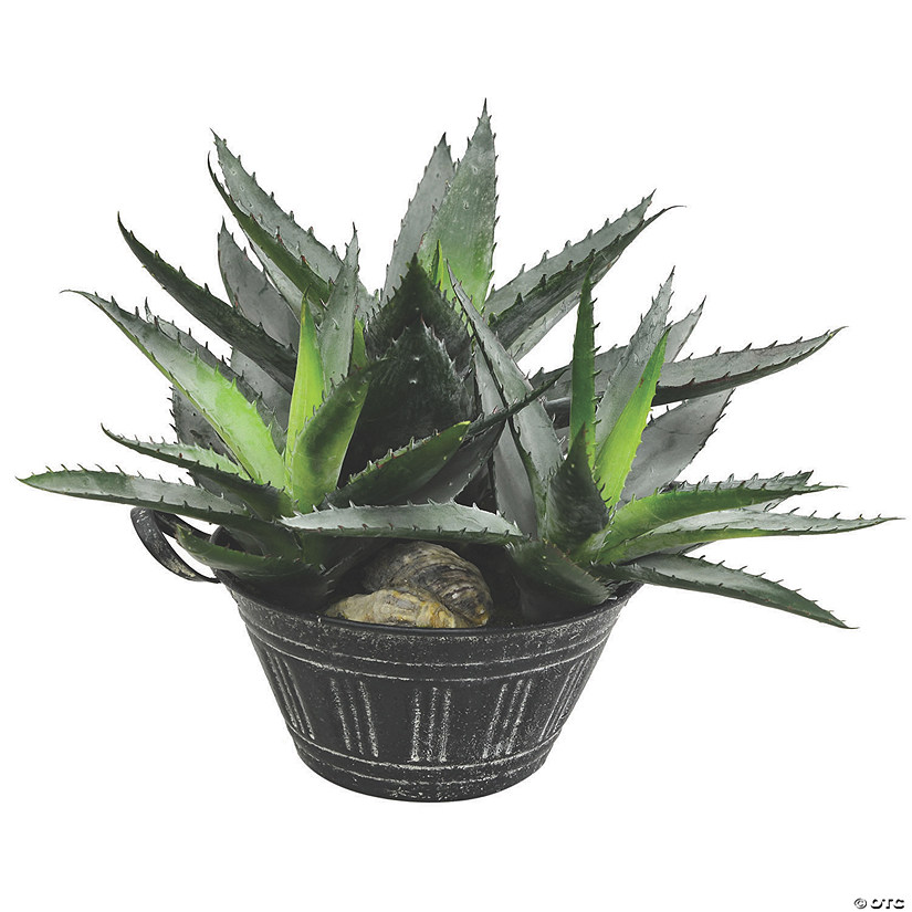 "Vickerman 10"" Artificial Green Succulent in Galvanized Pot Audio Thumbnail"
