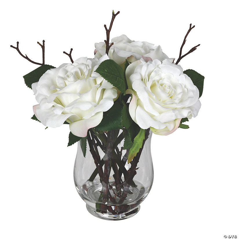 "Vickerman 10"" White Rose In Glass Vase Audio Thumbnail"