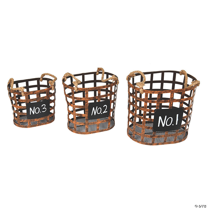 "Vickerman 10"" Wire Chalkboard Oval Basket - 3/pk Audio Thumbnail"