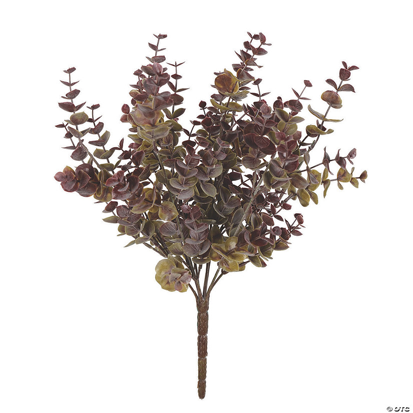 "Vickerman 14"" Artificial Green and Red Mini Jade Leaf Bush UV Coated, 3/pk Audio Thumbnail"