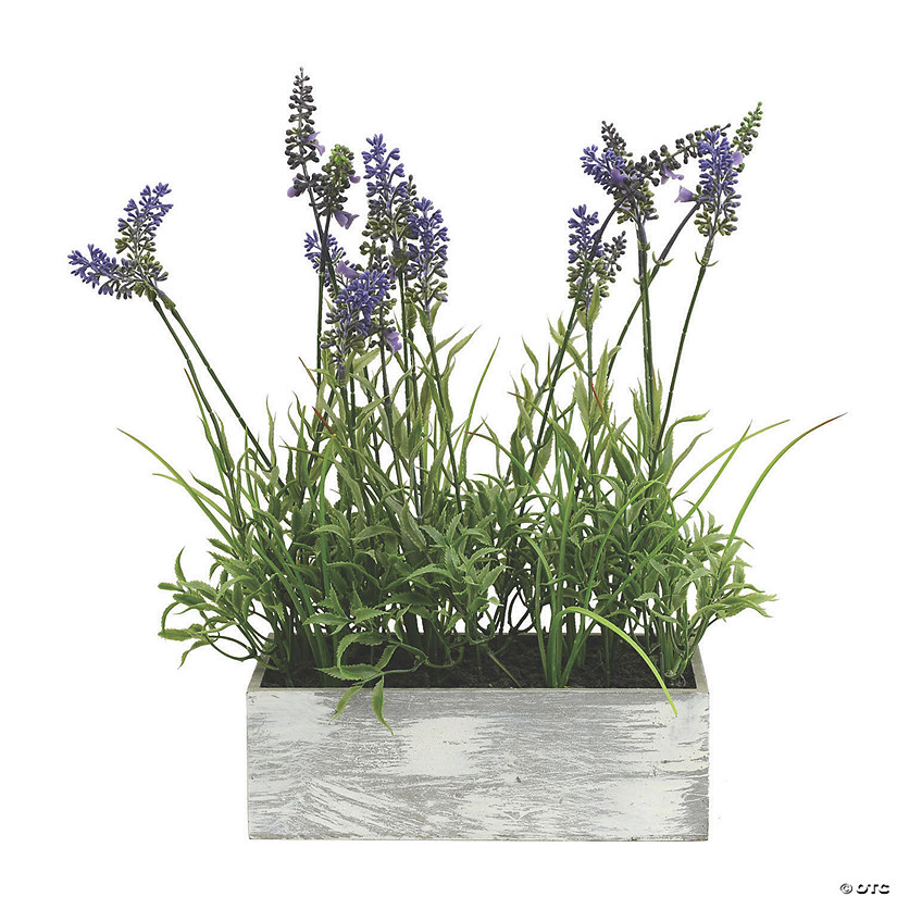 "Vickerman 15"" Artificial Lavender Plant in Wood Rectangle Pot Audio Thumbnail"