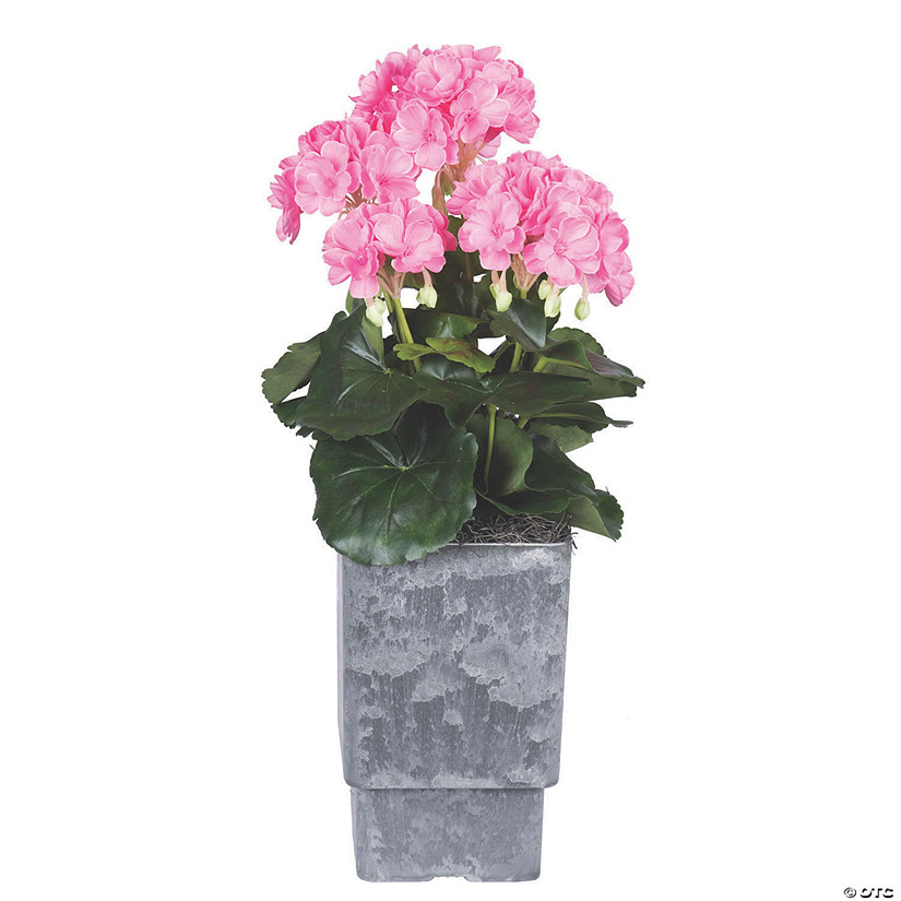 "Vickerman 17"" Artificial Pink Geranium And Green Leaves Audio Thumbnail"