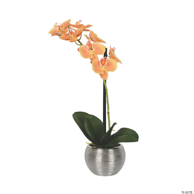 "Vickerman 18"" Artificial Peach Phalaenopsis In Metal Pot Real Touch Petals Image Thumbnail"