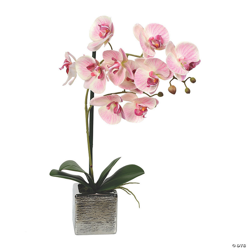"Vickerman 18"" Artificial Pink Phalaenopsis In Metal Pot Real Touch Petals Audio Thumbnail"