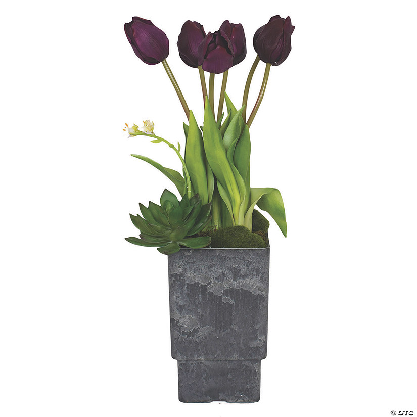 "Vickerman 18"" Artificial Purple Tulip Arrangment Audio Thumbnail"
