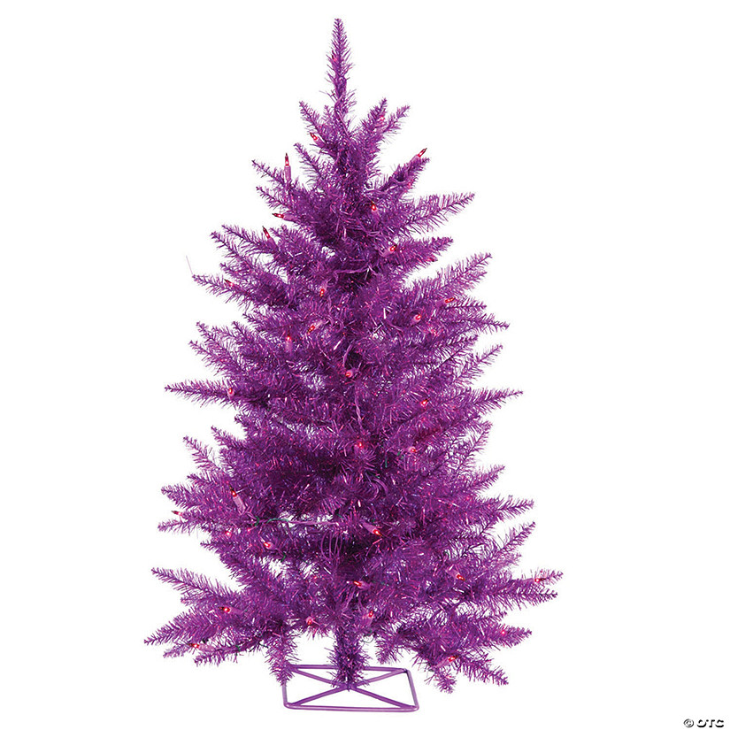 Vickerman 2' Purple Christmas Tree with Purple LED Lights Image Thumbnail