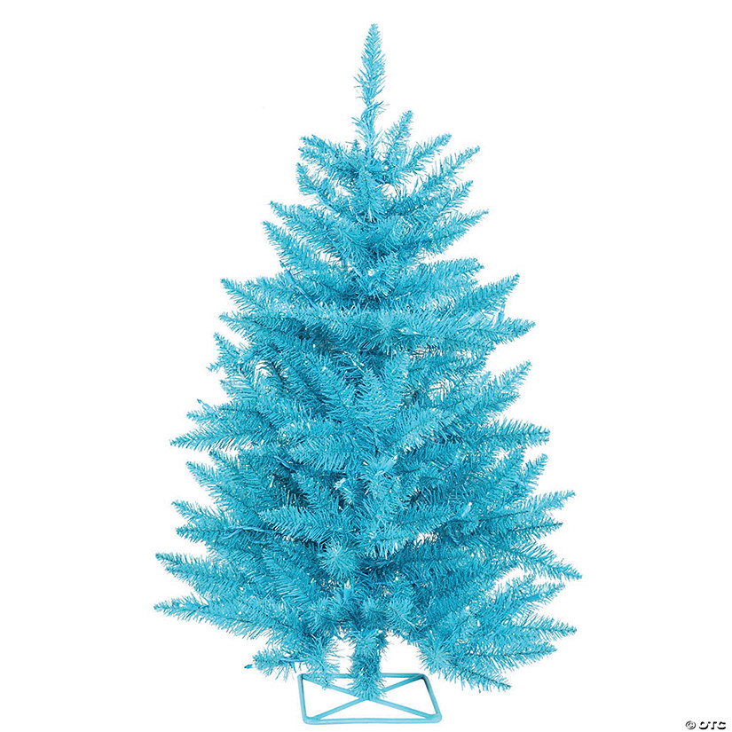 Vickerman 2' Sky Blue Christmas Tree with Teal LED Lights Image Thumbnail