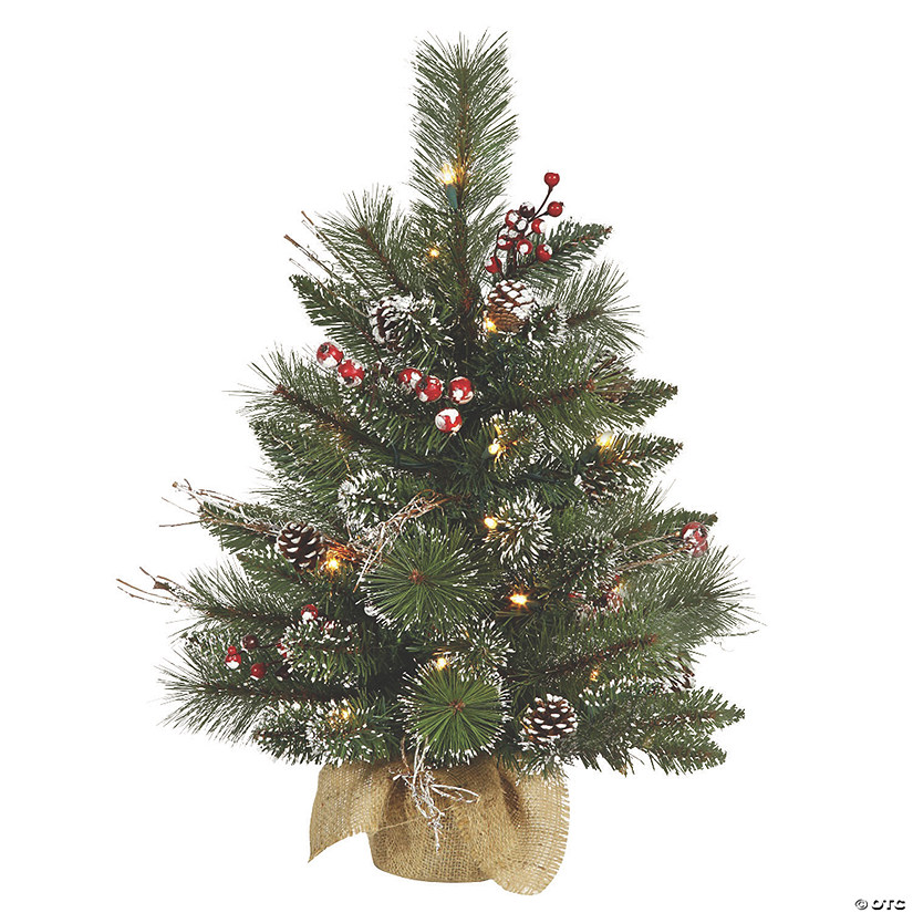 Vickerman 2' Snow Tipped Pine and Berry Christmas Tree with Clear Lights Audio Thumbnail
