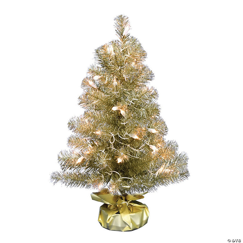 "Vickerman 2' x 16"" Champagne Tinsel Tree with Clear Lights Image Thumbnail"