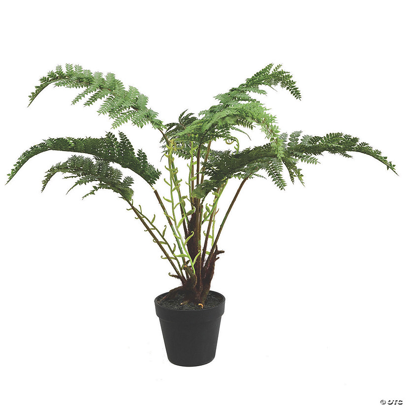 "Vickerman 20"" Artificial Green Fern in Round Black Pot Audio Thumbnail"