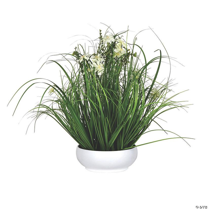 "Vickerman 21"" Potted Cream Cosmos and Green Grass Audio Thumbnail"