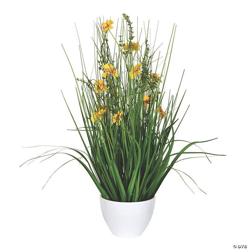 "Vickerman 22.5"" Potted Yellow Cosmos and Green Grass Audio Thumbnail"