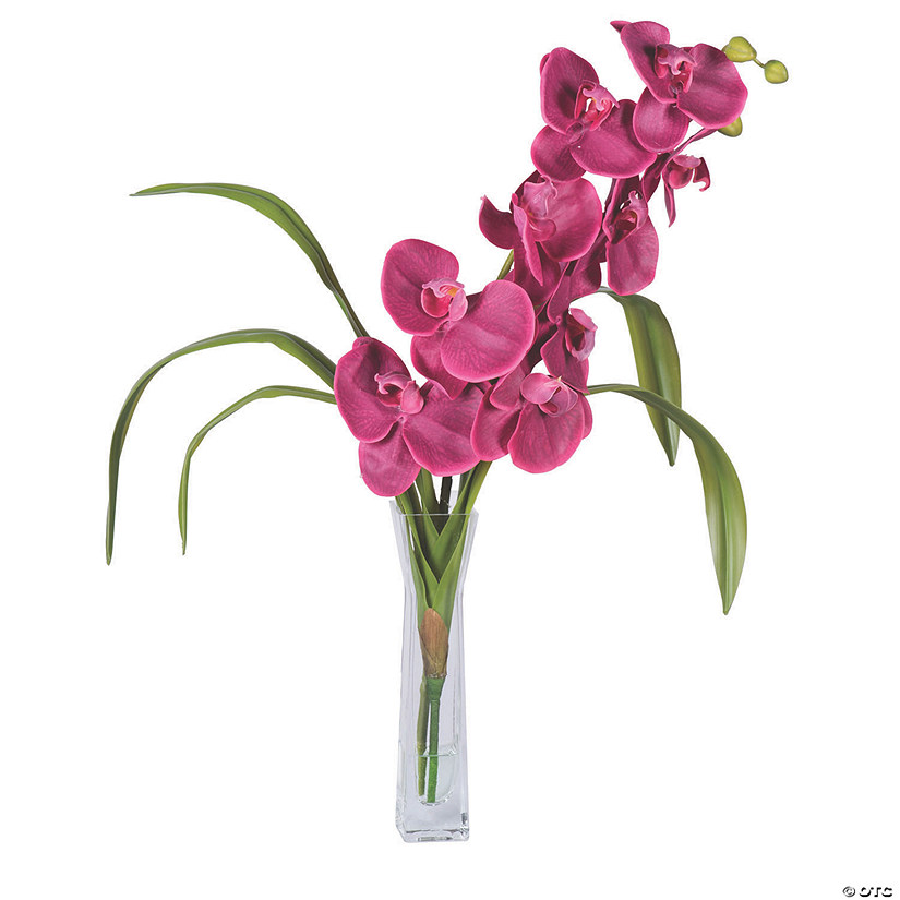 "Vickerman 22"" Artificial Magenta Orchid And Green Leaves Audio Thumbnail"