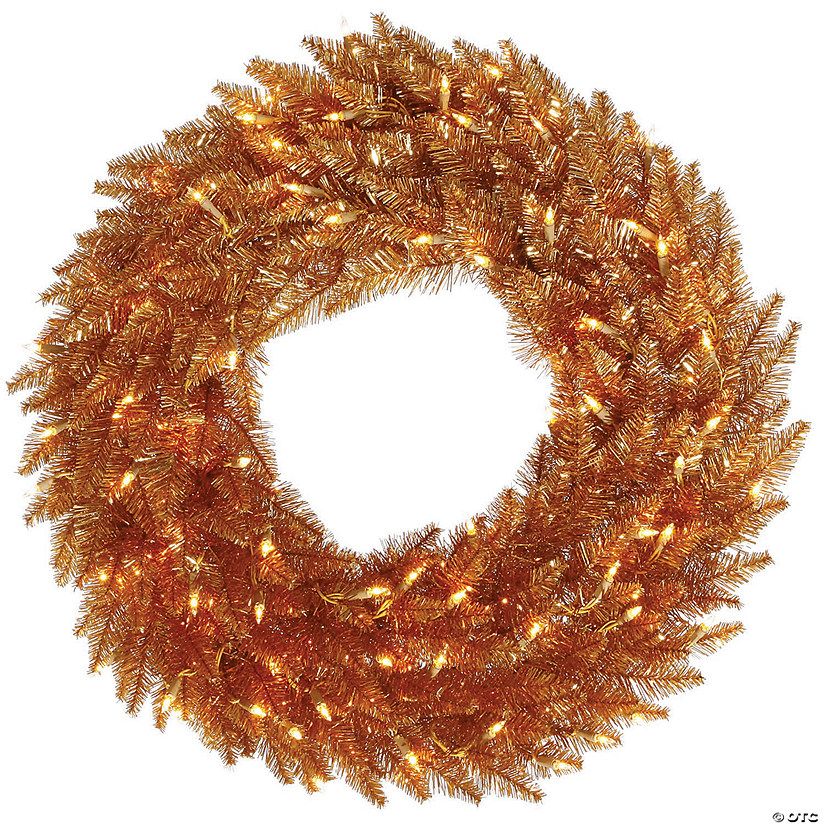 "Vickerman 24"" Copper Wreath Featuring Clear Lights Image Thumbnail"