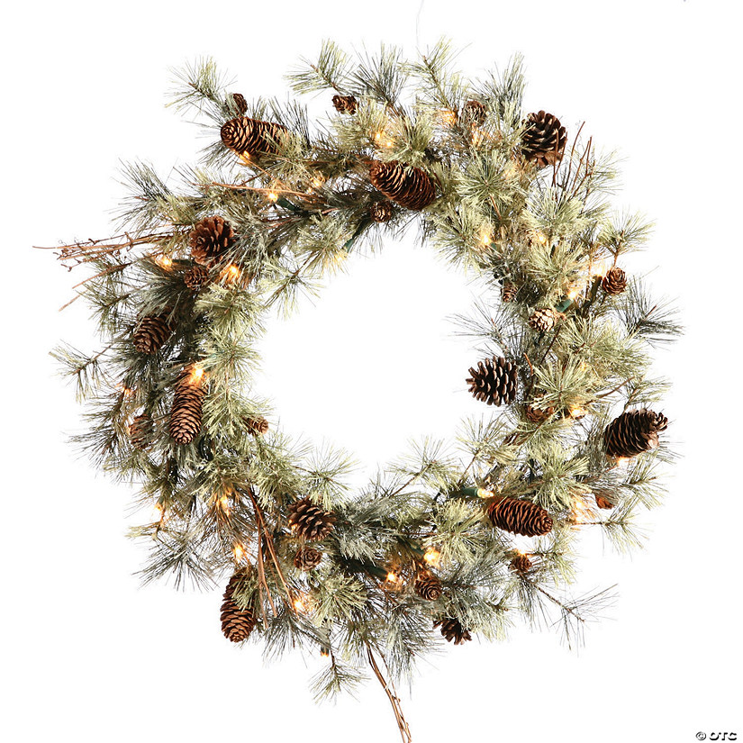 "Vickerman 24"" Dakota Christmas Wreath with Clear Lights Image Thumbnail"