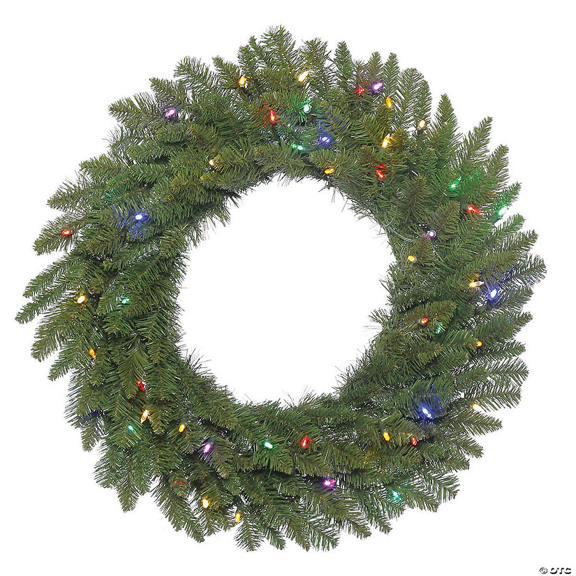 "Vickerman 24"" Durango Spruce Christmas Wreath with Multi-Colored LED Lights Image Thumbnail"